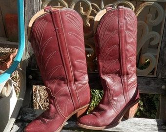 "Burgundy  Western Show Boot 1970""s size 7 1/2"