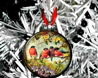 Four Birds on Tree Christmas Ornament