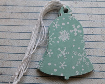10 Gift Tags snowflake blue and white chipboard Bell shaped Gift Tags Hang Tags