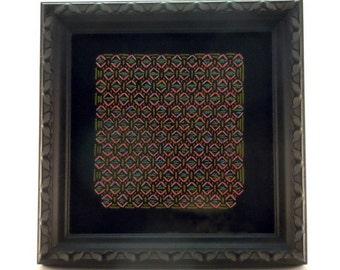 """Afrique. Framed original stitch art. Comes in a 5"""" x 5"""" black-brown frame"""