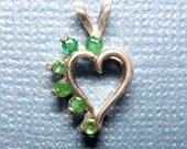 Genuine Emerald Heart Silver Pendant - May Birthstone Gift