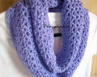 Crochet Infinity Scarf neckwarmer cowl trendy scarf infinity scarf crochet scarf Colors Lavender White SHIPS NOW