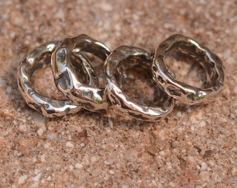 Hammered 8mm Closed Jump Rings Sterling Silver,  JR-214