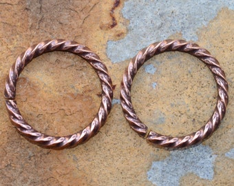 4  Antique Copper 17mm Grande Rope Jumprings  - Nunn Designs