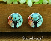 Buy 1 Get 1 Free - ELK Wood Cabochon, Wooden Button,12mm 15mm 20mm Round Handmade Photo Wood Cut Cabochon  -- HWC018V