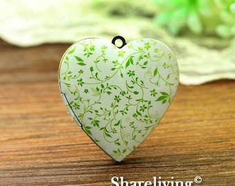1pcs Vine Heart Locket Necklace, Antique Bronze Brass Locket, Photo Heart Locket Charm Pendant - HLK902U