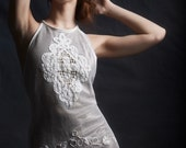 Halter Dress made of White Cotton Tambor Lace  with Bronze satin lining