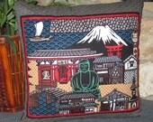 Great Buddha of Kamakura, Mount Fuji Design Zippered Japanese Furoshiki Pillow Cover Primary Colors