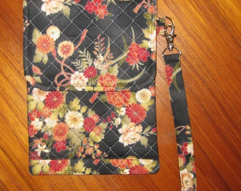Electronic Readers, iPad Mini Tablet Quilted Sleeve with Wrist Strap Japanese Floral Design
