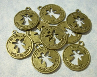10 You Are My Special Angel Charms - Antique Bronze - 19 x 22mm