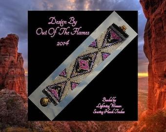 Bead PATTERN Anasazi Cuff Bracelet Peyote Brick Stitch