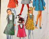 Vintage Sewing Pattern Simplicity 8426 Girls'  Dress & Jumper Size 8 Breast 27 inches Complete