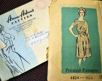 Vintage 1960s Sewing Pattern  Anne Adams 4824 Misses'Dress Half Size 18 1/2 Bust 39 Complete