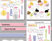 Tooth Fairy, cute teeth, tooth brush and paste digital clipart, Commercial use digital image - MGB103