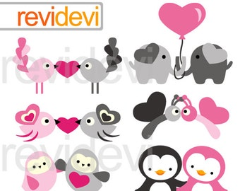 Valentine Animals Clipart - Pink grey clip art for valentine's day - cute animals in pair - instant download, commercial use
