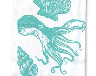 Teal Octopus Screenprinted Flower Sack Kitchen Towel