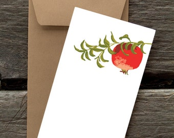Pomegranate on Branch  - 8 Blank flat notecards and envelopes