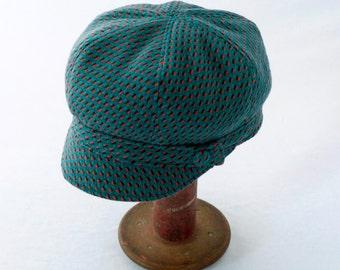 Turquoise Blue Wool Newsboy Hat with Orange Flecks - Womens Hats - Girls Hats - Newsboy Hat - Wool Hat - Winter Fashion