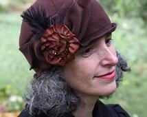 Ladies Fleece Hat - Flapper Style - Cloche - Turban - Chocolate - Eloise