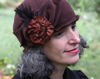 Ladies Fleece Hat - Flapper Style - Cloche - Turban - Chocolate - Eloise