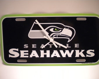Seattle Seahawks License Plate Clock