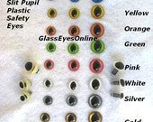 12 PAIR  10mm or 12mm or 15mm SLIT Pupil Plastic Safety Eyes Choose Color For Cats, Dragons, Frogs, Fairies, Crochet, Amigurumi ( SPE-1 )