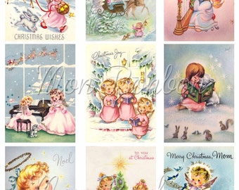 Retro Christmas Angels Digital Collage Sheet - Pastel Christmas - Vintage Pink Christmas Card Images- INSTANT DOWNLOAD