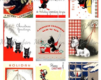 Christmas Scottie Dogs Digital Collage Sheet  - DIY Printable Christmas Images - INSTANT DOWNLOAD