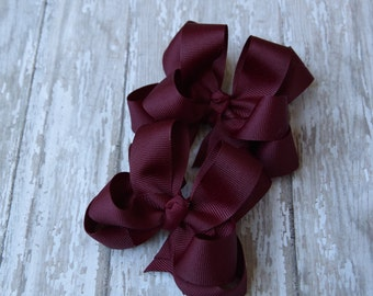 """Girls Hair Bows Maroon Boutique 3"""" Double Layer Hairbows Set of 2 Pigtail Bows Maroon Pigtail Hair Bows"""