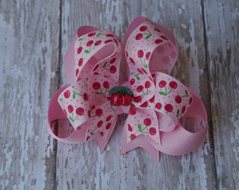 "Cherry Hair Bow Boutique Layered 4"" Hairbow Pink Cherries"