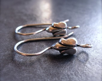 Tulip - Solid Sterling Silver ear wires - high end jewelry earring findings - supplies