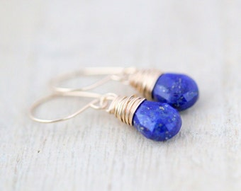 Lapis Lazuli Gold Earrings, 14K Gold Fill, Cobalt Blue Gemstone, Handmade Earrings