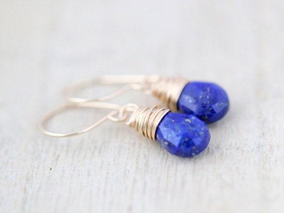 Lapis Lazuli Gold Earrings, 14K Gold Fill, Cobalt Blue Gemstone, Handmade Earrings