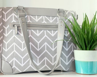Less than Perfect - Laptop Camera Bag - Gray and White Chevron - Laptop Tote - Womens Laptop Satchel - Canvas and Vegan Leather