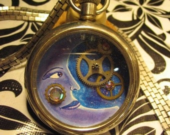 Steampunk Blue Moon Pendant Made Out of a Pockect Watch and Watch Gears