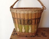Vintage Hand Painted Basket, Antique Bamboo and Wicker Basket, Hand Painted Bunnies,