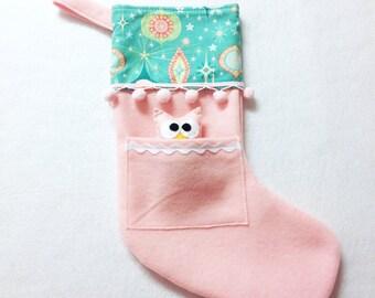 Felt Holiday Stocking - Pocket Peeper Owl - Rockin Retro