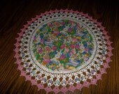 Crocheted, Easter Doily, Tulips, Rabbits, Easter Eggs, 18 Inch Doilies, Handmade, Pink Trim