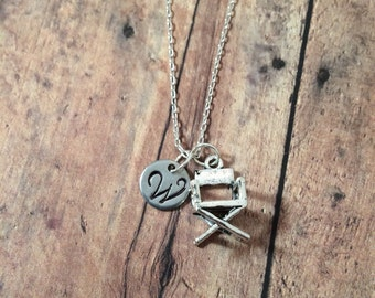 Director's chair initial necklace - movie jewelry, gift for film student, movie director necklace, silver director's necklace, film jewelry