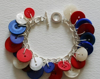 Red White and Blue Button Charm Bracelet