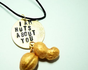 Stamped Brass Disc, I'm nuts about you, Polymer Clay Nuts, Pendant Hand Stamped