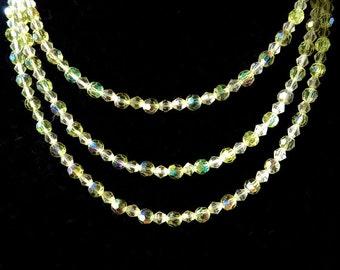 Vintage 52 inch Crystal Necklace, Long Strand Yellow Crystal 40s Necklace, Ladies  Flapper necklace