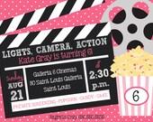 Lights, Camera, Action! Movie Birthday Party Invitation (Printable)