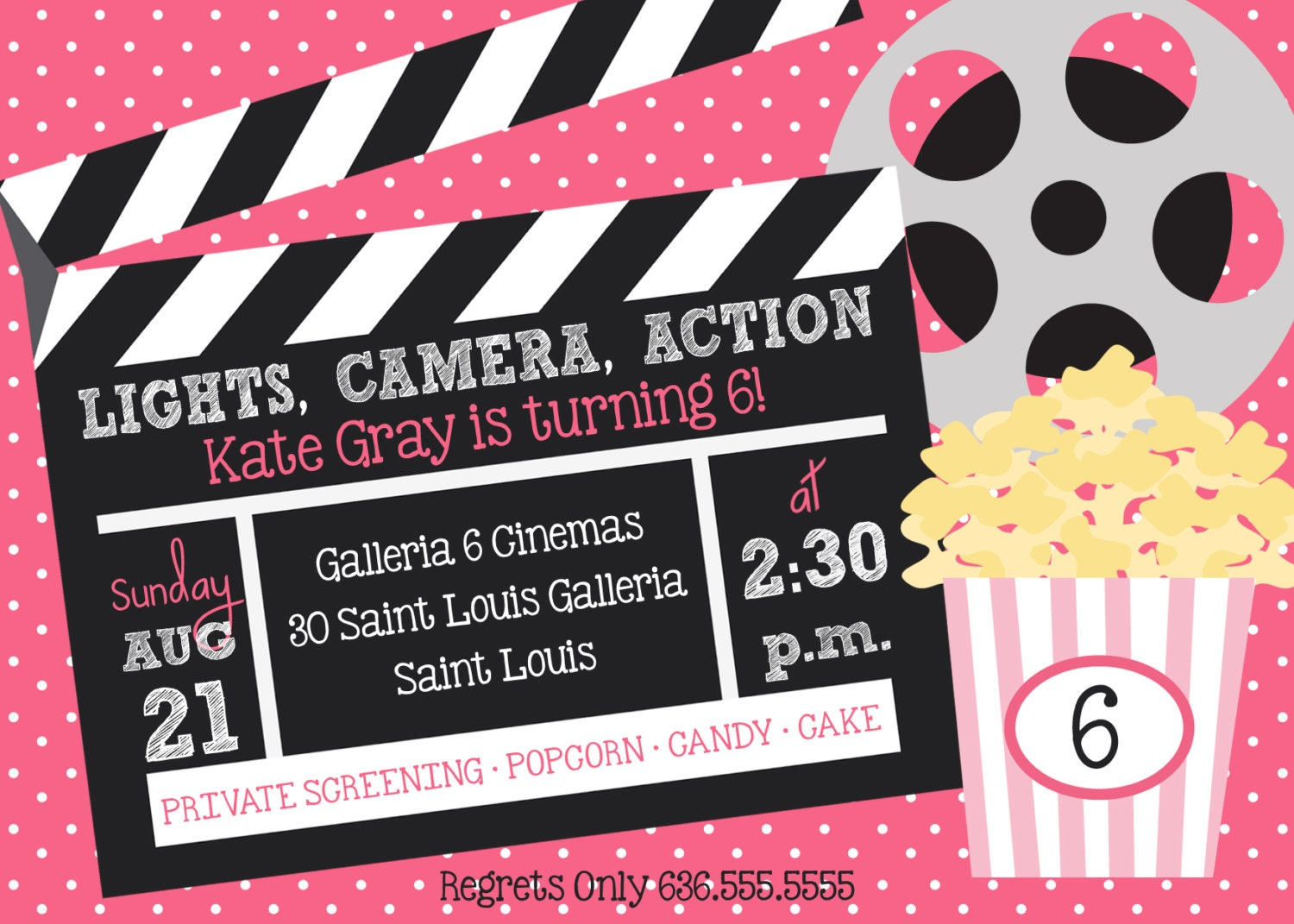 Lights Camera Action Movie Birthday Party Invitation