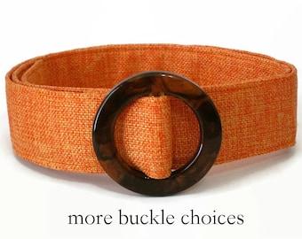 "Waist Belt, Light Orange Fabric Belt, Tangerine Woven D-ring Belt, Women's Wide Trench Coat Belt, Total Belt Length 35"" 36"" 38"""