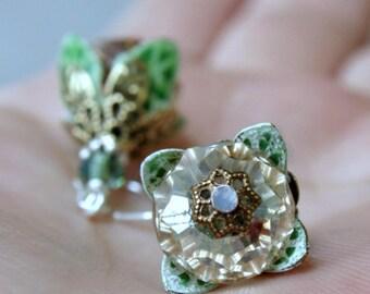 St. Patrick's Day, Flower Earrings, Dangle, Green, Crystal Earrings, Mother's Day, Gift For Girlfriend, Gift Ideas, Green, Gift For Mom