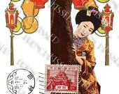 Geisha Japanese Lanterns Banner and Red Pagoda Stamp Digital Printables