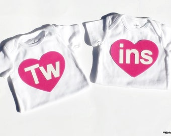 Tw         ins//Hearts//Fabric Iron On Appliques//Twins//Siblings//Brother//Sister//Photo Prop//Several Color Options