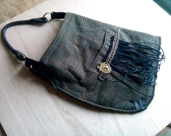 On SALE: Hobo Bag - HANDmade using Reclaimed Plaid Wool Blazer ( with Fringe and Brass Key Plate Ornament )