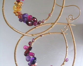 Gemstone Gold Filled Hoops, Wire Wrapped Double Teardrops, Statement, Amethyst, Ruby, Tourmaline, Sapphire, Garnet, Original Design